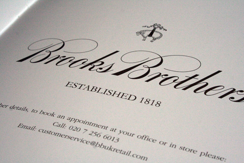 brooks brothers brochure close up